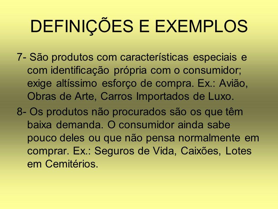 DEFINIÇÕES E EXEMPLOS 7- São produtos com características especiais e com identificação própria com o consumidor; exige altíssimo esforço de compra. E