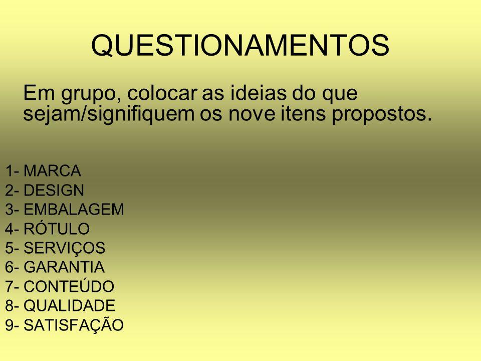 QUESTIONAMENTOS Em grupo, colocar as ideias do que sejam/signifiquem os nove itens propostos. 1- MARCA 2- DESIGN 3- EMBALAGEM 4- RÓTULO 5- SERVIÇOS 6-