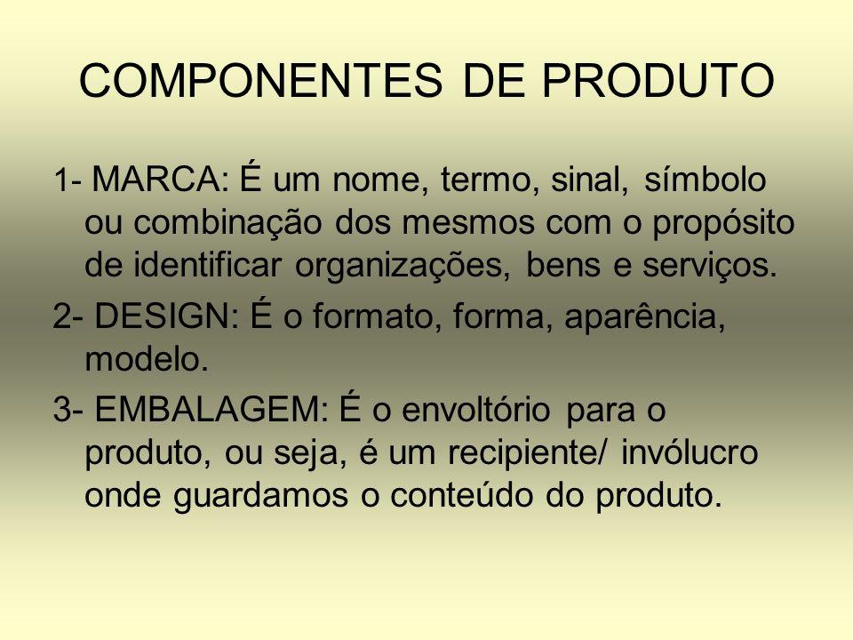 COMPONENTES DE PRODUTO 1- MARCA: É um nome, termo, sinal, símbolo ou combinação dos mesmos com o propósito de identificar organizações, bens e serviço