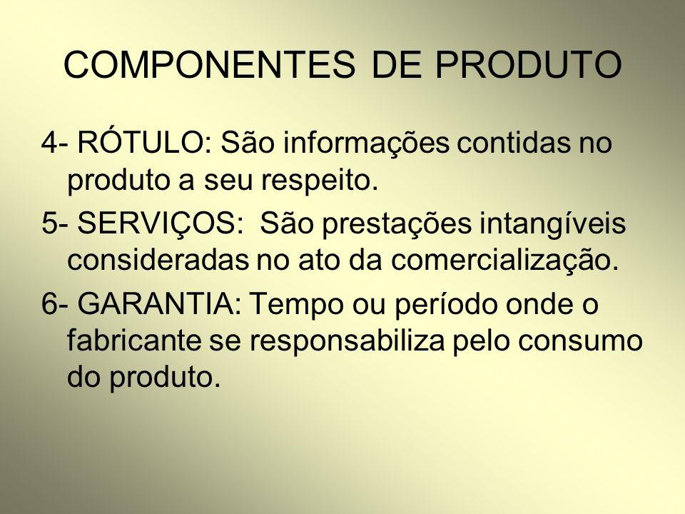 COMPONENTES DE PRODUTO 4- RÓTULO: São informações contidas no produto a seu respeito. 5- SERVIÇOS: São prestações intangíveis consideradas no ato da c