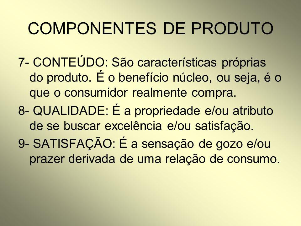 COMPONENTES DE PRODUTO 7- CONTEÚDO: São características próprias do produto. É o benefício núcleo, ou seja, é o que o consumidor realmente compra. 8-
