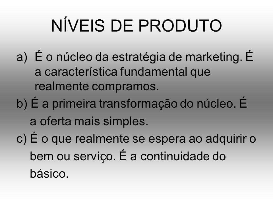 NÍVEIS DE PRODUTO a)É o núcleo da estratégia de marketing. É a característica fundamental que realmente compramos. b) É a primeira transformação do nú