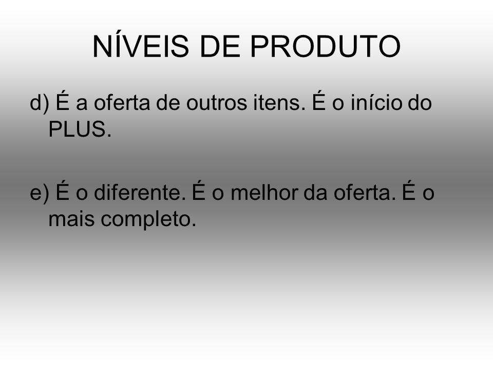 NÍVEIS DE PRODUTO d) É a oferta de outros itens. É o início do PLUS. e) É o diferente. É o melhor da oferta. É o mais completo.