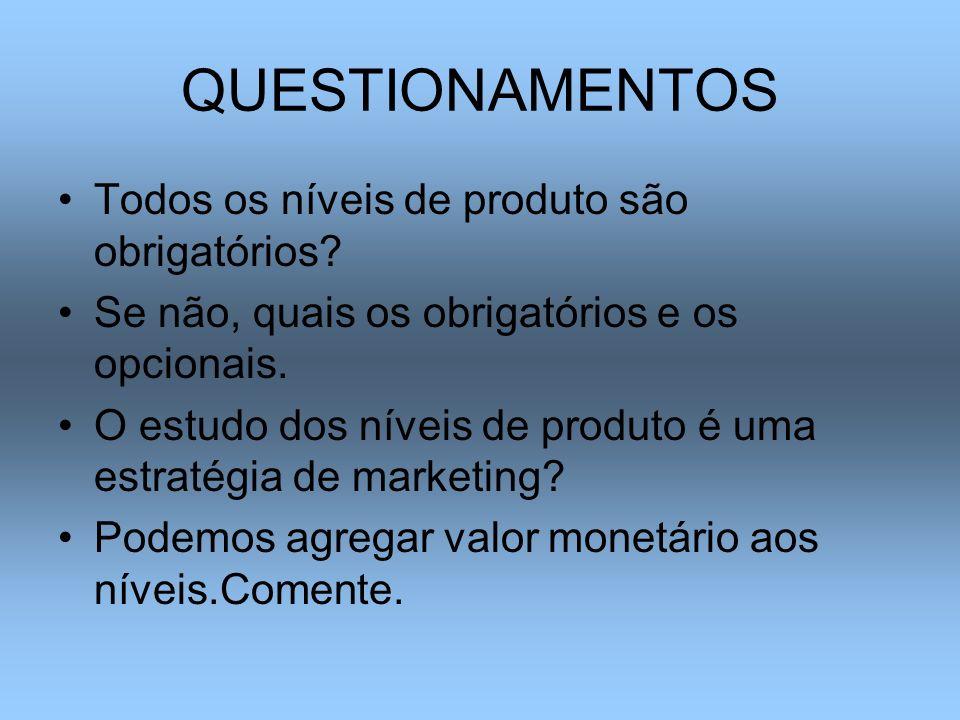 QUESTIONAMENTOS Todos os níveis de produto são obrigatórios? Se não, quais os obrigatórios e os opcionais. O estudo dos níveis de produto é uma estrat
