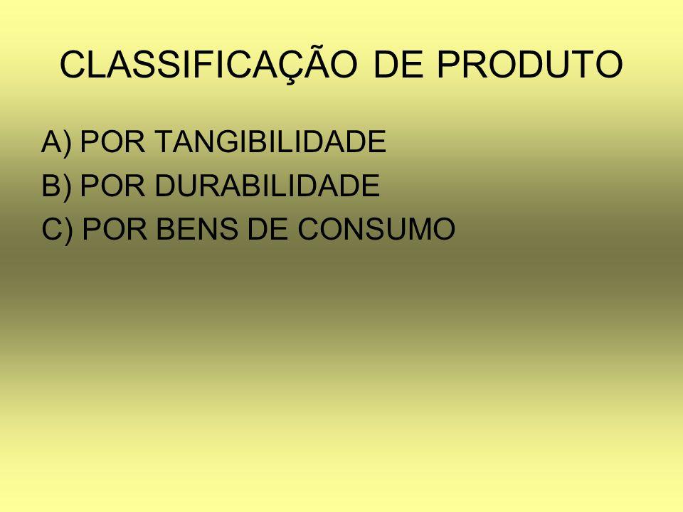 CLASSIFICAÇÃO DE PRODUTO A) POR TANGIBILIDADE B) POR DURABILIDADE C) POR BENS DE CONSUMO