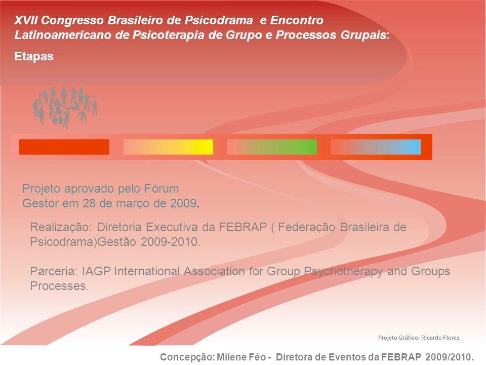 XVII Congresso Brasileiro de Psicodrama e Encontro Latinoamericano de Psicoterapia de Grupo e Processos Grupais: Etapas Projeto aprovado pelo Fórum Ge