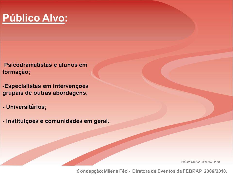 Concepção: Milene Féo - Diretora de Eventos da FEBRAP 2009/2010. Projeto Gráfico: Ricardo Florez Público Alvo: Psicodramatistas e alunos em formação;