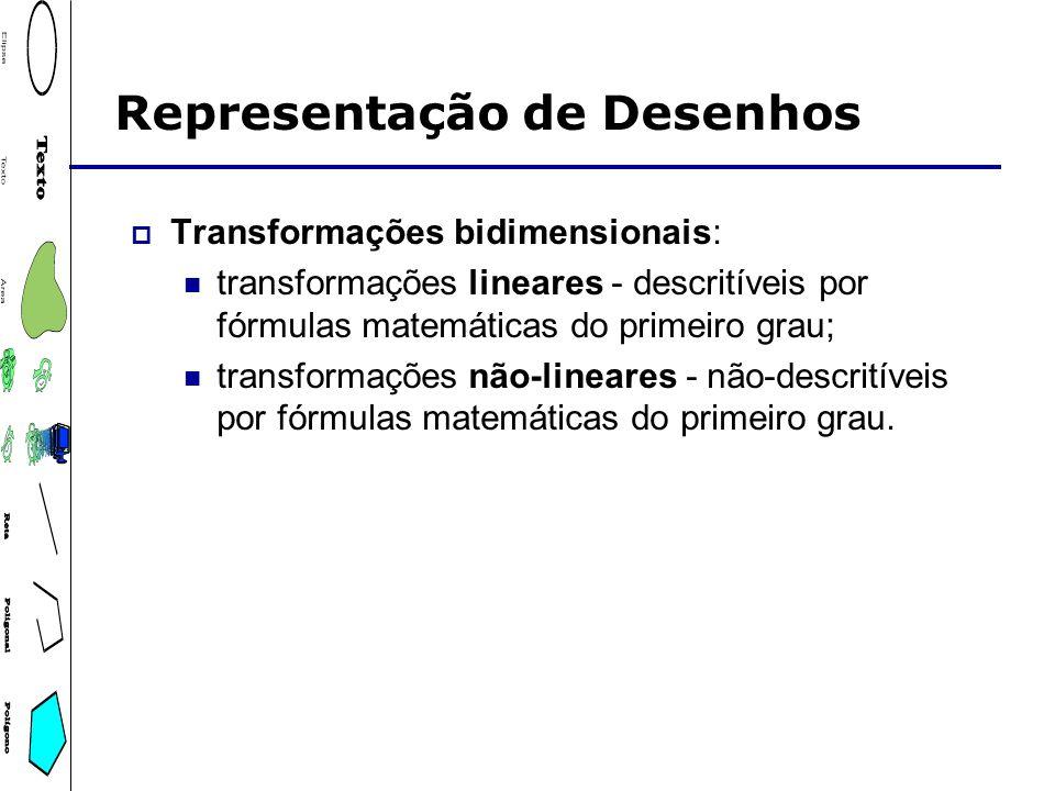 Representação de Desenhos Transformações bidimensionais: transformações lineares - descritíveis por fórmulas matemáticas do primeiro grau; transformaç