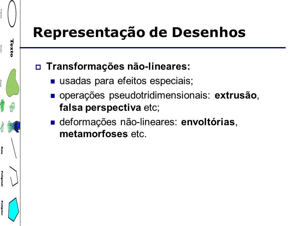 Representação de Desenhos Transformações não-lineares: usadas para efeitos especiais; operações pseudotridimensionais: extrusão, falsa perspectiva etc