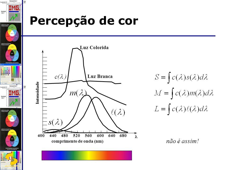 DSC/CEEI/UFCG Percepção de cor 400440480520560600640680 Intensidade comprimento de onda (nm) Luz Colorida Luz Branca não é assim.