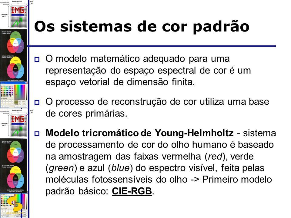 DSC/CEEI/UFCG Os sistemas de cor padrão O modelo matemático adequado para uma representação do espaço espectral de cor é um espaço vetorial de dimensã