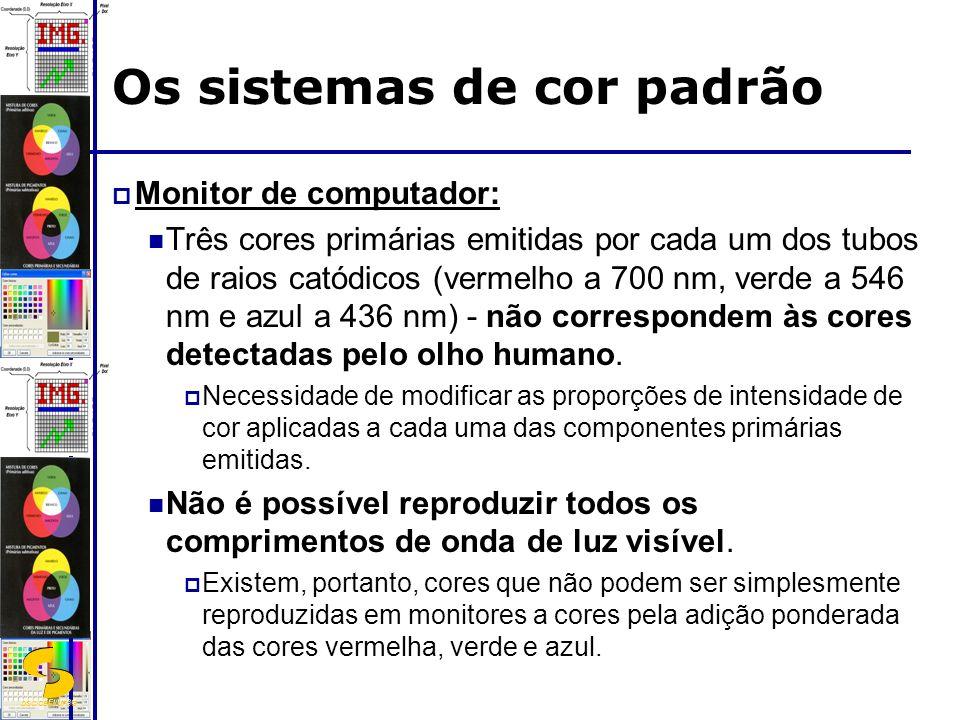 DSC/CEEI/UFCG Os sistemas de cor padrão Monitor de computador: Três cores primárias emitidas por cada um dos tubos de raios catódicos (vermelho a 700 nm, verde a 546 nm e azul a 436 nm) - não correspondem às cores detectadas pelo olho humano.