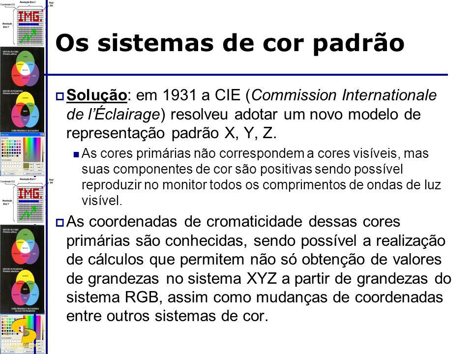 DSC/CEEI/UFCG Os sistemas de cor padrão Solução: em 1931 a CIE (Commission Internationale de lÉclairage) resolveu adotar um novo modelo de representação padrão X, Y, Z.