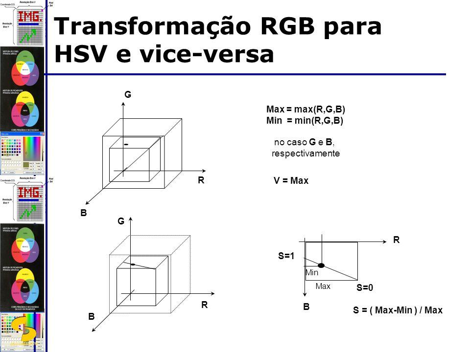 DSC/CEEI/UFCG Transformação RGB para HSV e vice-versa R G B Max = max(R,G,B) Min = min(R,G,B) no caso G e B, respectivamente R G B V = Max S = ( Max-Min ) / Max B R S=0 S=1 Min Max
