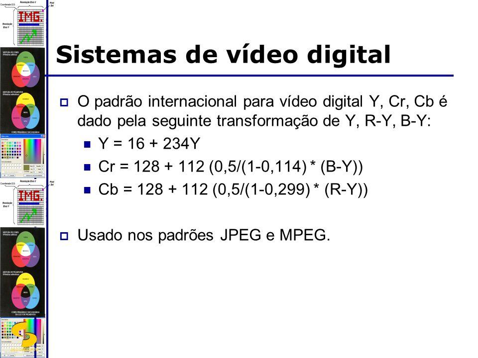 DSC/CEEI/UFCG Sistemas de vídeo digital O padrão internacional para vídeo digital Y, Cr, Cb é dado pela seguinte transformação de Y, R-Y, B-Y: Y = 16 + 234Y Cr = 128 + 112 (0,5/(1-0,114) * (B-Y)) Cb = 128 + 112 (0,5/(1-0,299) * (R-Y)) Usado nos padrões JPEG e MPEG.