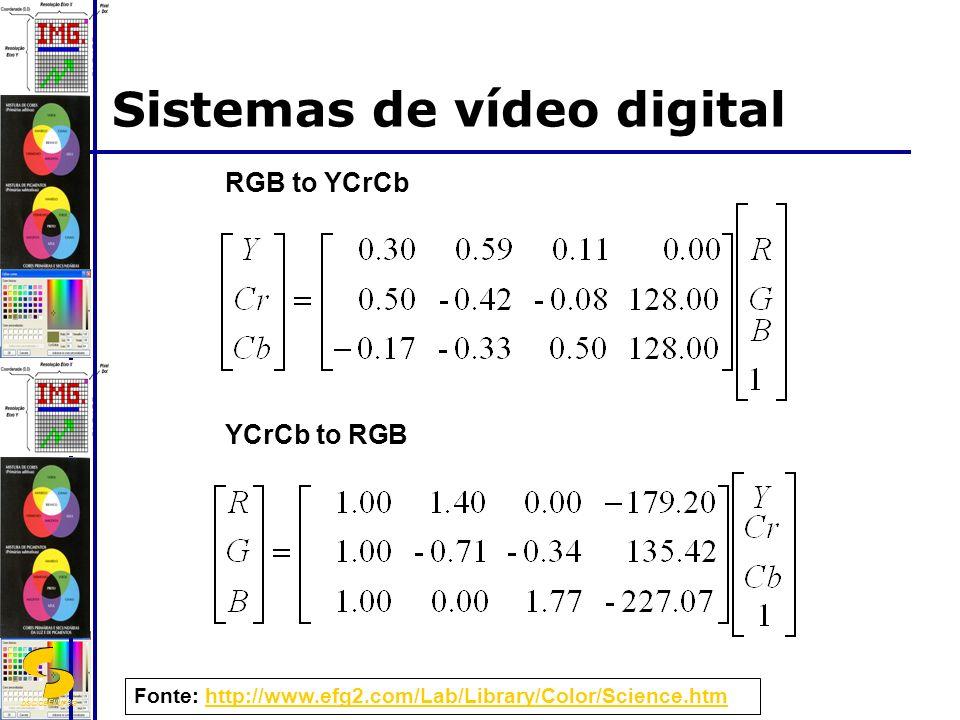 DSC/CEEI/UFCG RGB to YCrCb YCrCb to RGB Fonte: http://www.efg2.com/Lab/Library/Color/Science.htmhttp://www.efg2.com/Lab/Library/Color/Science.htm Sistemas de vídeo digital