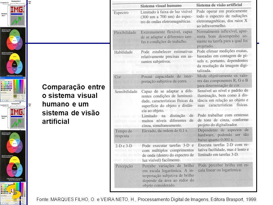 DSC/CEEI/UFCG Comparação entre o sistema visual humano e um sistema de visão artificial Fonte: MARQUES FILHO, O. e VEIRA NETO, H., Processamento Digit