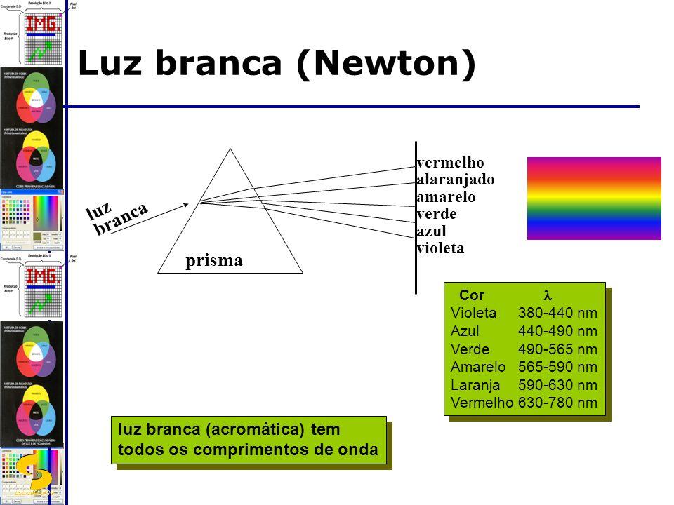 DSC/CEEI/UFCG Luz branca (Newton) luz branca prisma vermelho alaranjado amarelo verde azul violeta luz branca (acromática) tem todos os comprimentos de onda luz branca (acromática) tem todos os comprimentos de onda Cor Violeta380-440 nm Azul440-490 nm Verde490-565 nm Amarelo565-590 nm Laranja590-630 nm Vermelho630-780 nm Cor Violeta380-440 nm Azul440-490 nm Verde490-565 nm Amarelo565-590 nm Laranja590-630 nm Vermelho630-780 nm