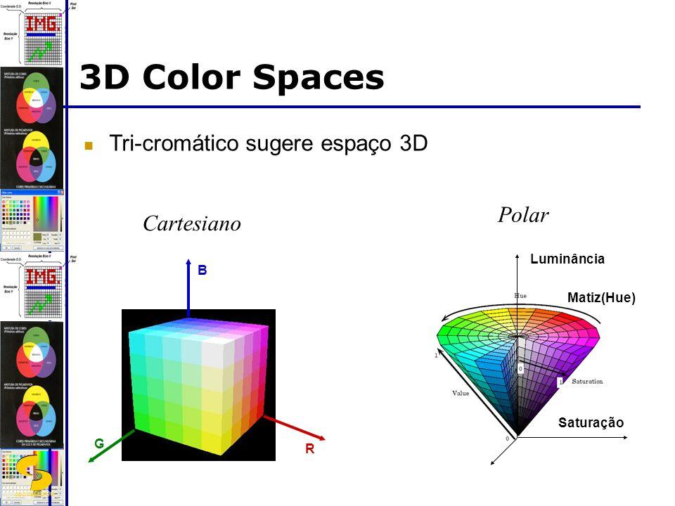 DSC/CEEI/UFCG 3D Color Spaces Tri-cromático sugere espaço 3D Polar Luminância Saturação Matiz(Hue) R B G Cartesiano
