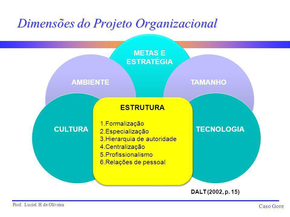 Prof. Luciel H de Oliveira Caso Gore Dimensões do Projeto Organizacional METAS E ESTRATÉGIA METAS E ESTRATÉGIA AMBIENTE TAMANHO TECNOLOGIA CULTURA EST