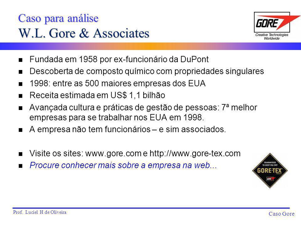 Prof. Luciel H de Oliveira Caso Gore Caso para análise W.L. Gore & Associates n Fundada em 1958 por ex-funcionário da DuPont n Descoberta de composto