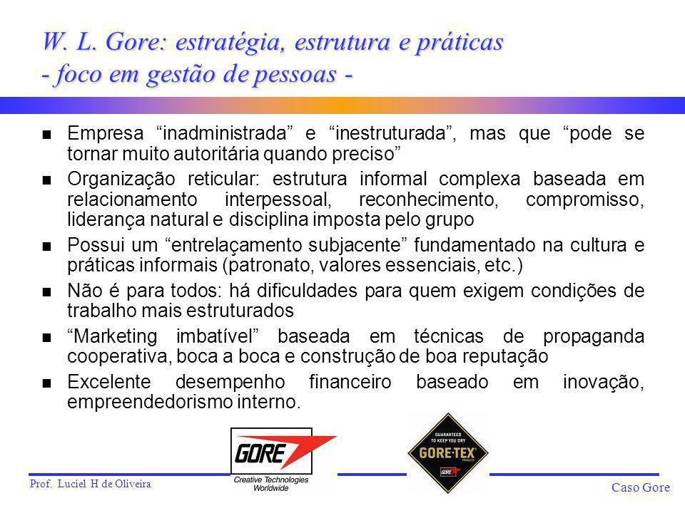 Prof. Luciel H de Oliveira Caso Gore W. L. Gore: estratégia, estrutura e práticas - foco em gestão de pessoas - n Empresa inadministrada e inestrutura