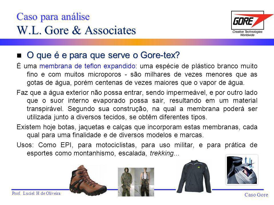 Prof. Luciel H de Oliveira Caso Gore Caso para análise W.L. Gore & Associates n O que é e para que serve o Gore-tex? É uma membrana de teflon expandid
