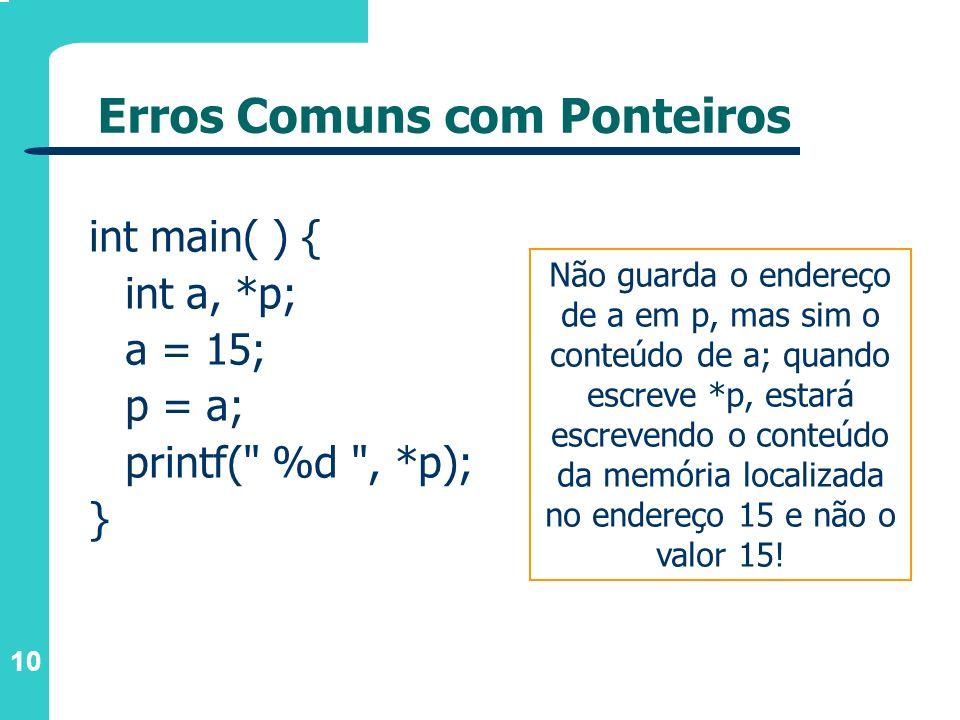 10 Erros Comuns com Ponteiros int main( ) { int a, *p; a = 15; p = a; printf(