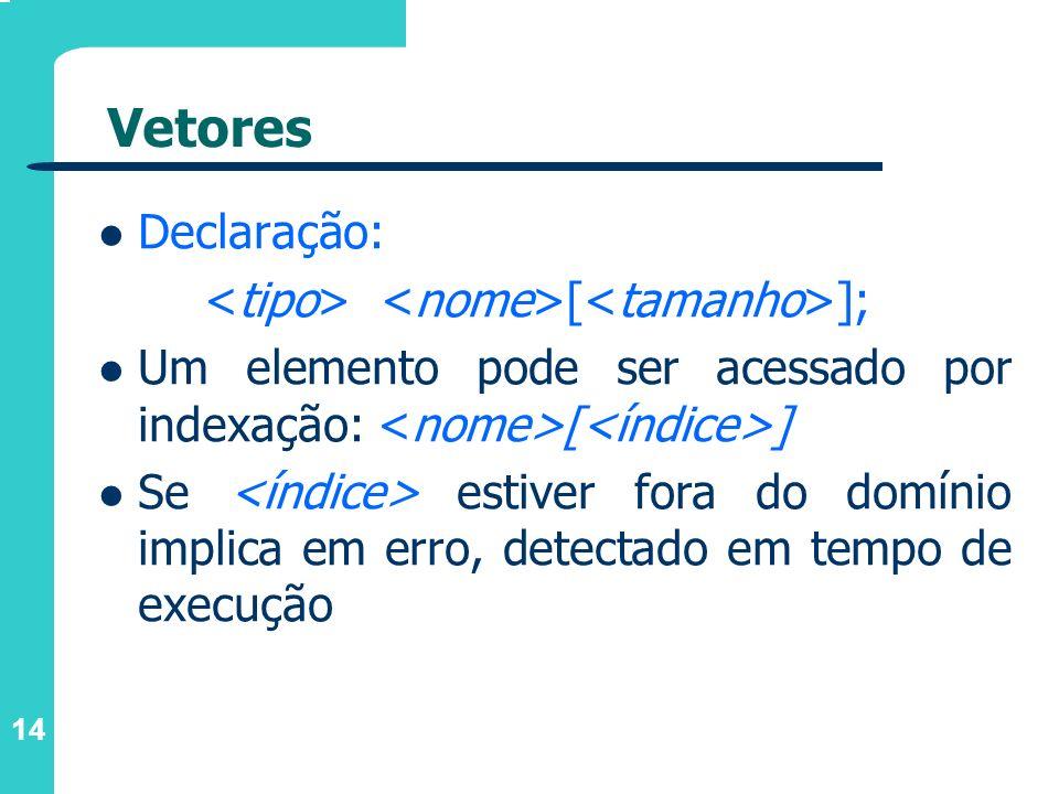 14 Vetores Declaração: [ ]; Um elemento pode ser acessado por indexação: [ ] Se estiver fora do domínio implica em erro, detectado em tempo de execuçã