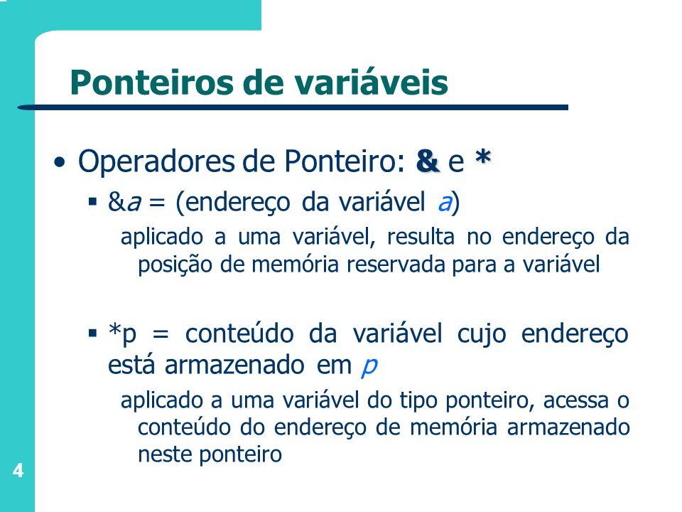 5 Ponteiros de variáveis Exemplos de declarações: /* variável inteira */ int num; /* variável ponteiro para inteiro */ int *p; Memória - - 206 202 p num