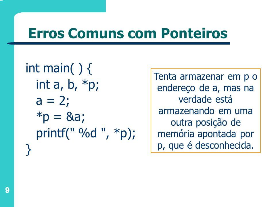 10 Erros Comuns com Ponteiros int main( ) { int a, *p; a = 15; p = a; printf( %d , *p); } Não guarda o endereço de a em p, mas sim o conteúdo de a; quando escreve *p, estará escrevendo o conteúdo da memória localizada no endereço 15 e não o valor 15!
