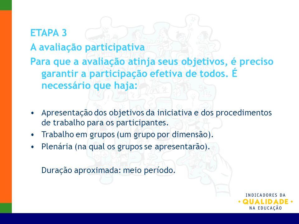 ETAPA 3 A avaliação participativa Para que a avaliação atinja seus objetivos, é preciso garantir a participação efetiva de todos. É necessário que haj