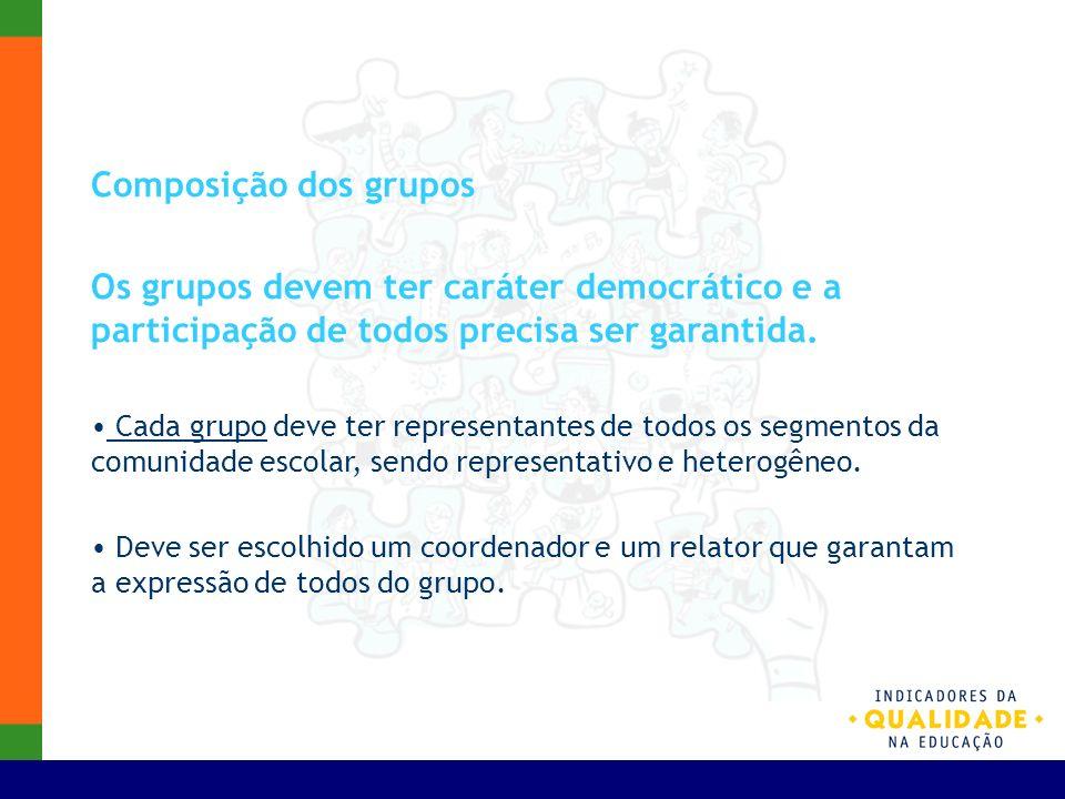 Composição dos grupos Os grupos devem ter caráter democrático e a participação de todos precisa ser garantida. Cada grupo deve ter representantes de t
