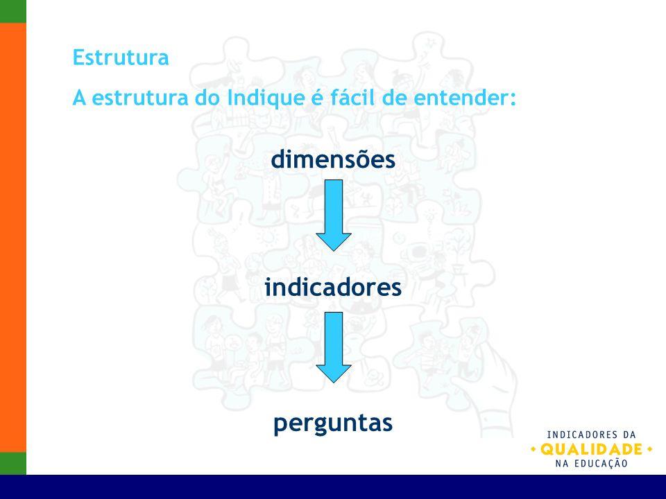 Estrutura A estrutura do Indique é fácil de entender: dimensões indicadores perguntas