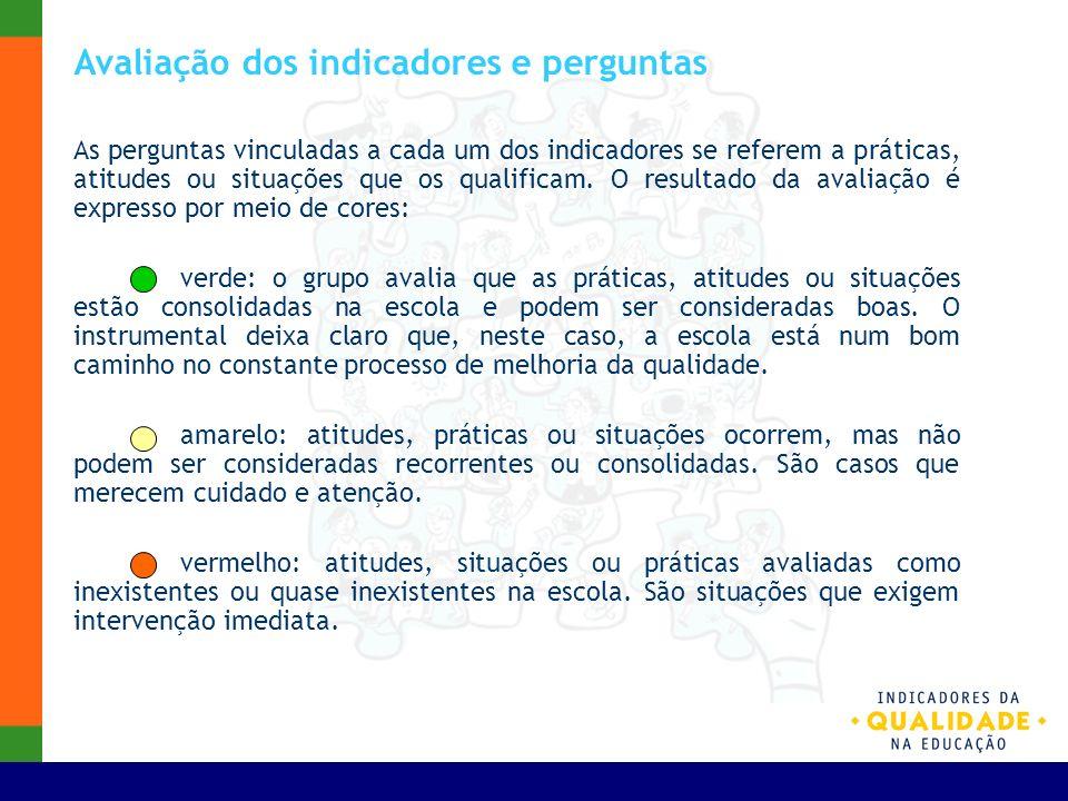 Avaliação dos indicadores e perguntas As perguntas vinculadas a cada um dos indicadores se referem a práticas, atitudes ou situações que os qualificam