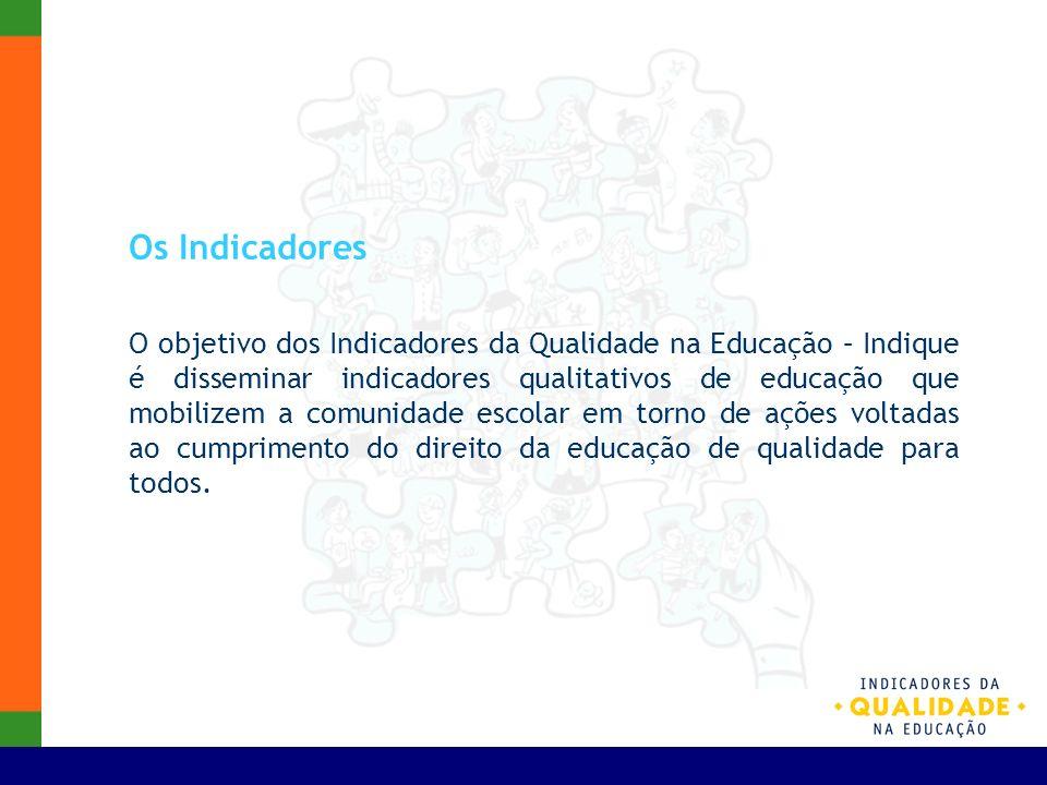 Os Indicadores O objetivo dos Indicadores da Qualidade na Educação – Indique é disseminar indicadores qualitativos de educação que mobilizem a comunid