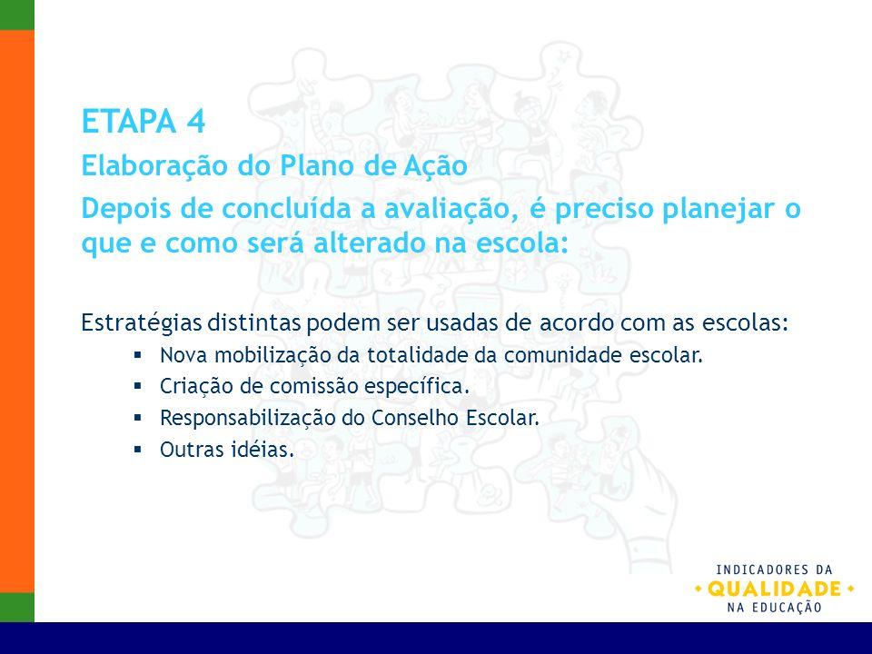ETAPA 4 Elaboração do Plano de Ação Depois de concluída a avaliação, é preciso planejar o que e como será alterado na escola: Estratégias distintas po