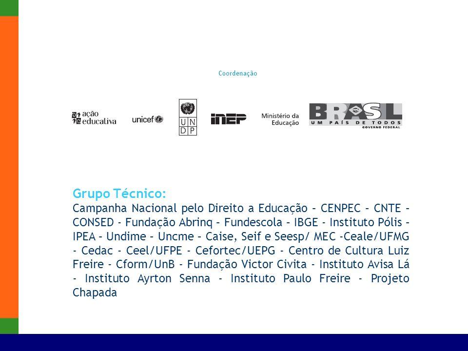 Grupo Técnico: Campanha Nacional pelo Direito a Educação – CENPEC – CNTE – CONSED - Fundação Abrinq – Fundescola – IBGE - Instituto Pólis – IPEA – Und