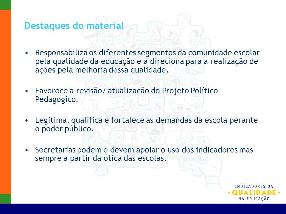 Destaques do material Responsabiliza os diferentes segmentos da comunidade escolar pela qualidade da educação e a direciona para a realização de ações
