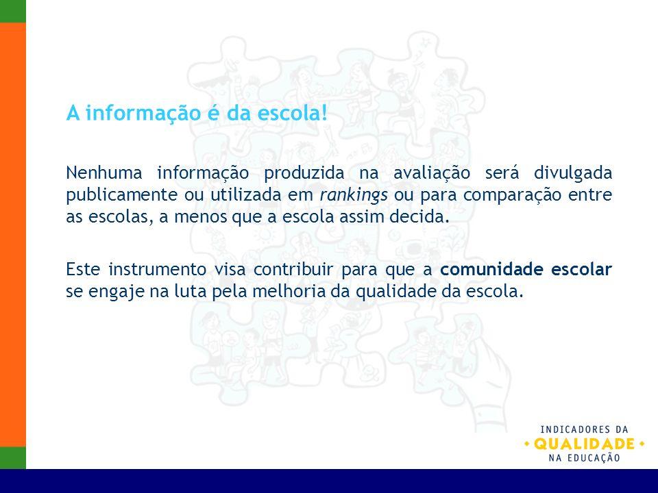 A informação é da escola! Nenhuma informação produzida na avaliação será divulgada publicamente ou utilizada em rankings ou para comparação entre as e