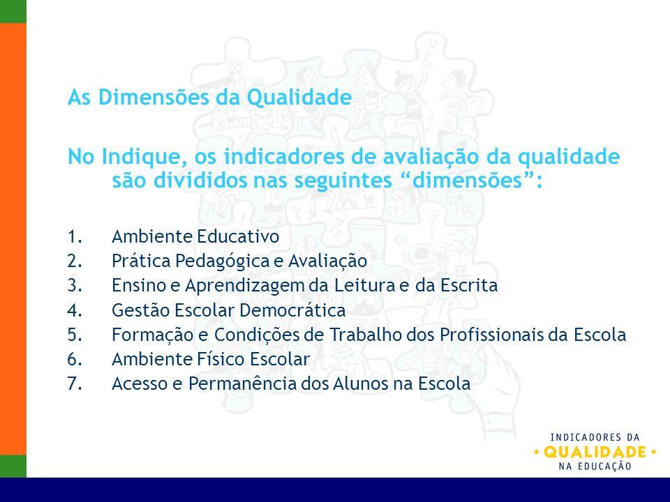 As Dimensões da Qualidade No Indique, os indicadores de avaliação da qualidade são divididos nas seguintes dimensões: 1.Ambiente Educativo 2.Prática P