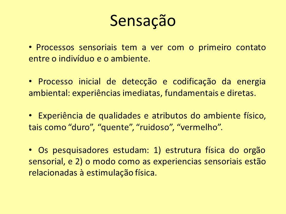 Sensação Processos sensoriais tem a ver com o primeiro contato entre o indivíduo e o ambiente. Processo inicial de detecção e codificação da energia a