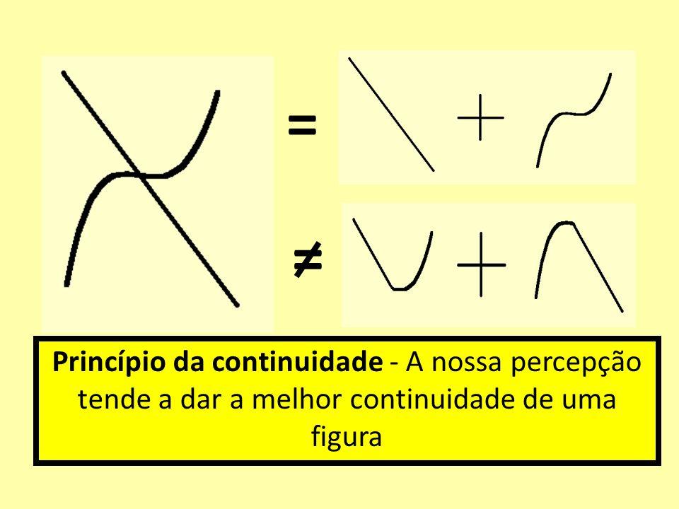 Princípio da continuidade - A nossa percepção tende a dar a melhor continuidade de uma figura = =