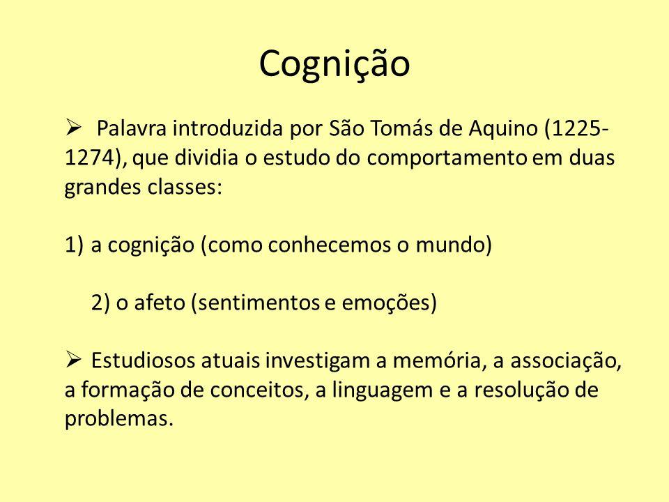 Cognição Palavra introduzida por São Tomás de Aquino (1225- 1274), que dividia o estudo do comportamento em duas grandes classes: 1)a cognição (como c