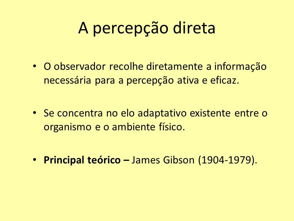 A percepção direta O observador recolhe diretamente a informação necessária para a percepção ativa e eficaz.