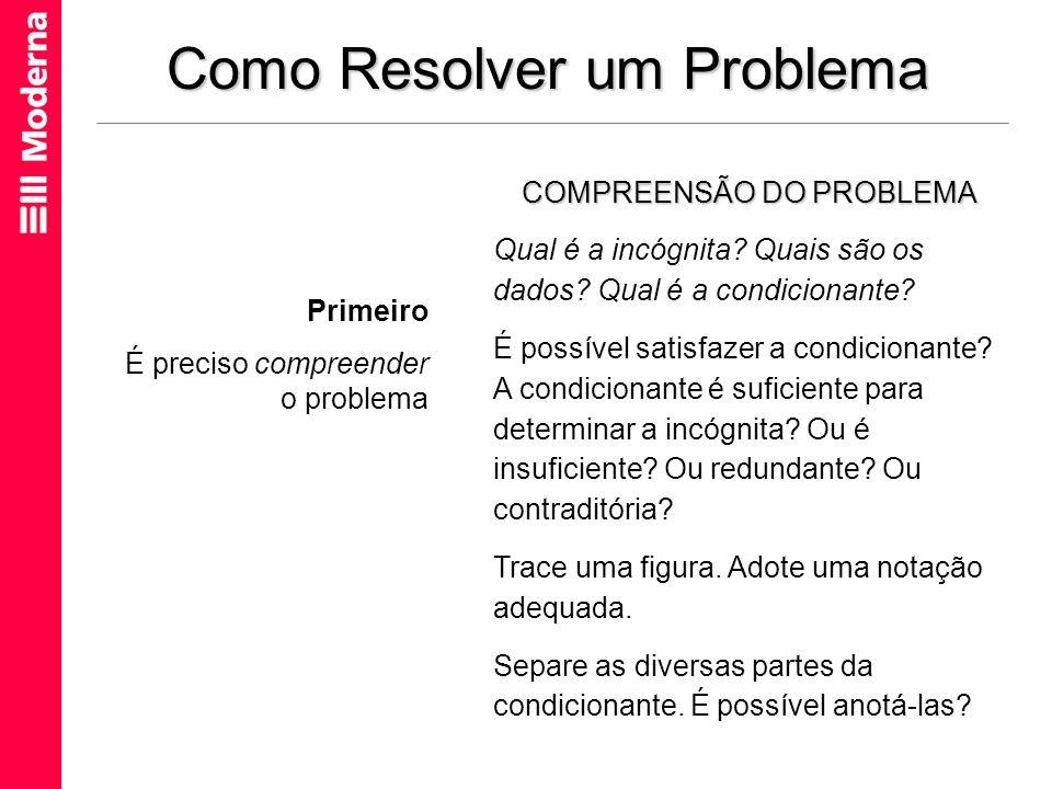 Como Resolver um Problema COMPREENSÃO DO PROBLEMA Qual é a incógnita? Quais são os dados? Qual é a condicionante? É possível satisfazer a condicionant