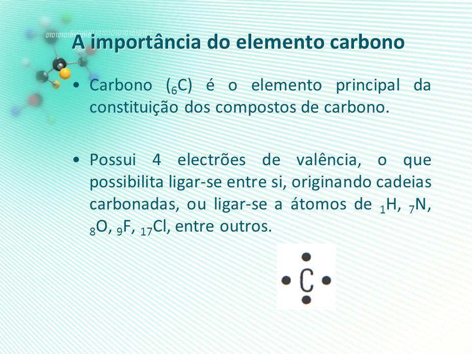 A importância do elemento carbono Carbono ( 6 C) é o elemento principal da constituição dos compostos de carbono. Possui 4 electrões de valência, o qu