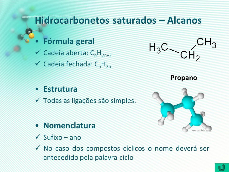 Hidrocarbonetos saturados – Alcanos Fórmula geral Cadeia aberta: C n H 2n+2 Cadeia fechada: C n H 2n Estrutura Todas as ligações são simples. Nomencla