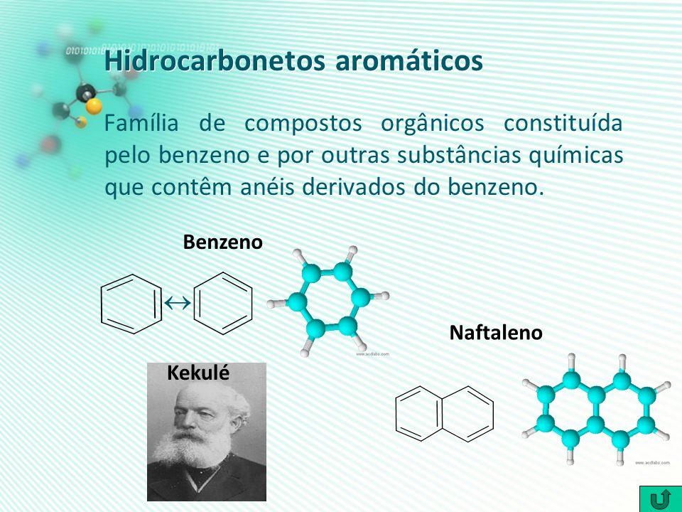 Hidrocarbonetos aromáticos Família de compostos orgânicos constituída pelo benzeno e por outras substâncias químicas que contêm anéis derivados do ben