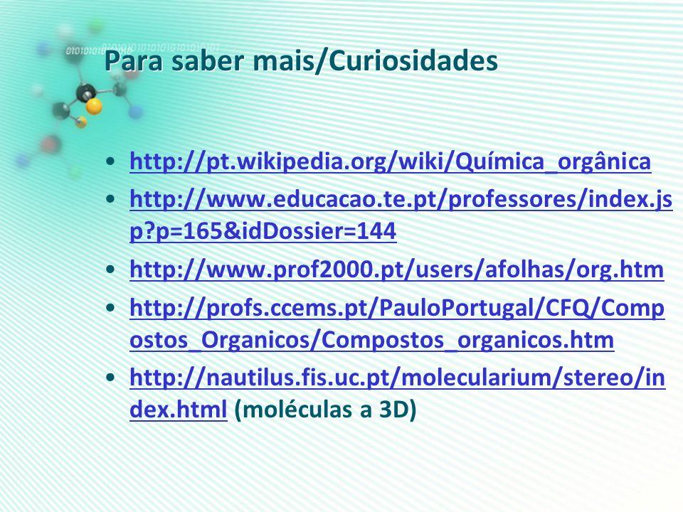 Para saber mais/Curiosidades http://pt.wikipedia.org/wiki/Química_orgânica http://www.educacao.te.pt/professores/index.js p?p=165&idDossier=144http://